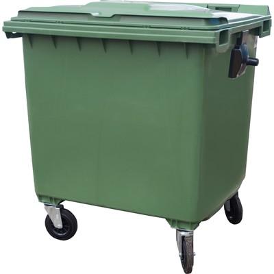 Мусорный контейнер на 4-x колесах с крышкой 1100 л зеленый