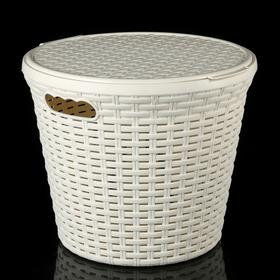 Корзина для белья круглая с крышкой Виолет «Ротанг», 20 л, 35×35×40 см, цвет слоновая кость Ош