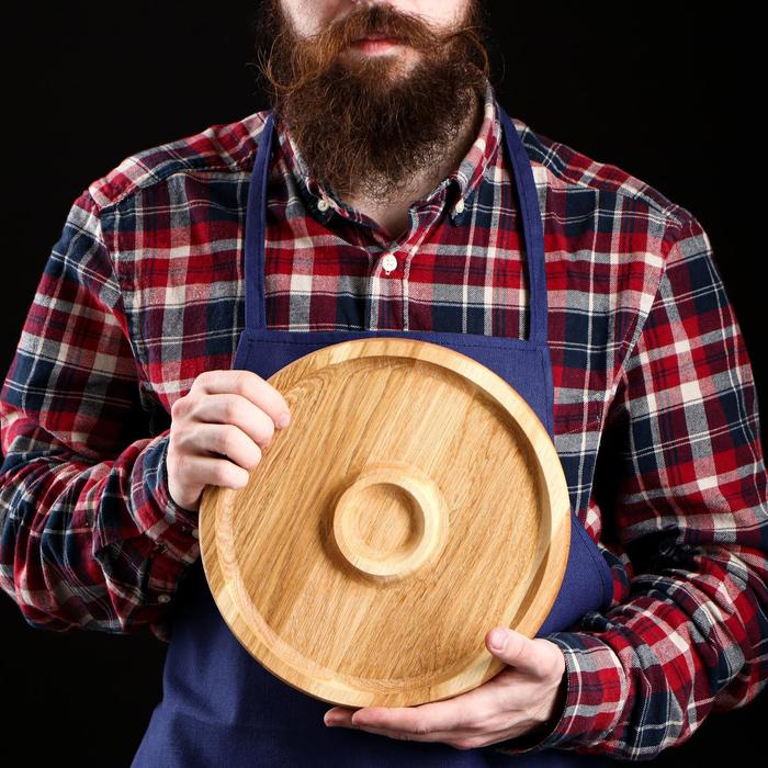 Тарелка с соусником, массив дуба, 25 см