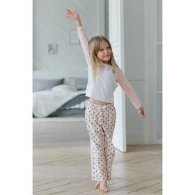 Брюки прямые для девочки MINAKU, рост 92, цвет розовый/горох