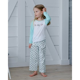 Straight pants for girls MINAKU, height 116, color blue/pea