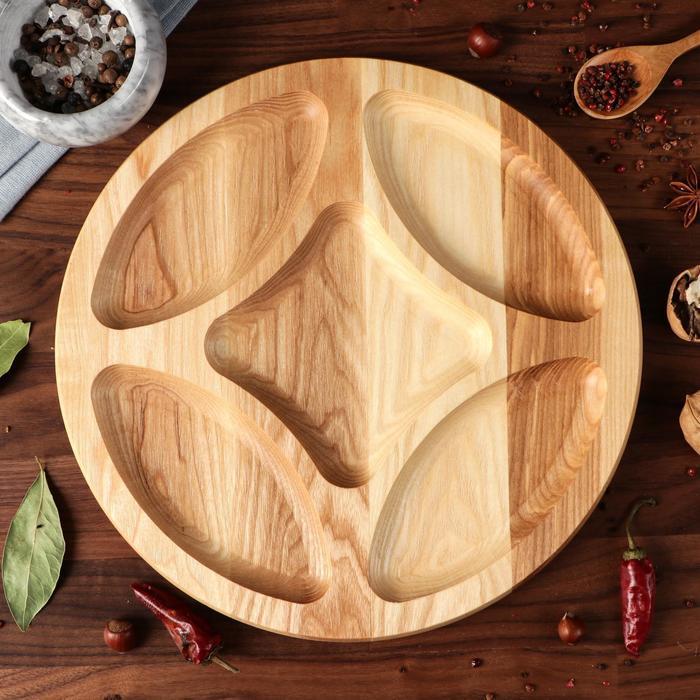 """Тарелка-доска для закусок и нарезки """"Универсальная"""", 30 см, массив ясеня - фото 308065750"""