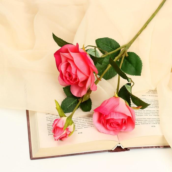 """Цветы искусственные """"Роза Глория"""" 8*48 см, малиновая"""