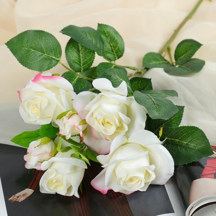 """Цветы искусственные """"Розочки кустовые"""" 8*65 см, белый - фото 725634273"""