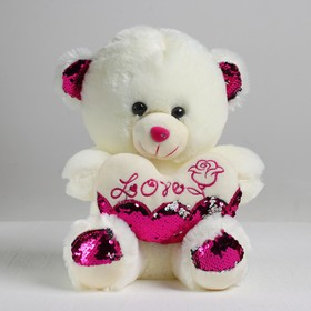 "Soft toy ""Bear with heart"" sequins"
