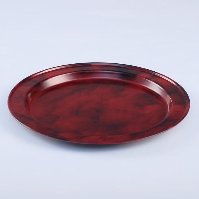 Поднос круглый, заготовка под роспись, d=19 см, бордовый