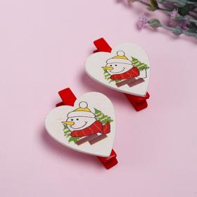 """Набор новогоднего декора на прищепке, 6 шт. """"Сердечки со снеговиками"""""""