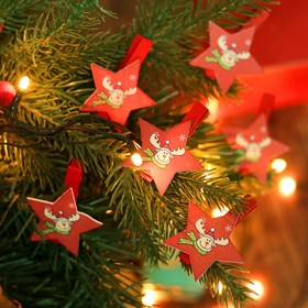 """Набор новогоднего декора на прищепке, 6 шт. """"Звёздочки с оленем"""""""