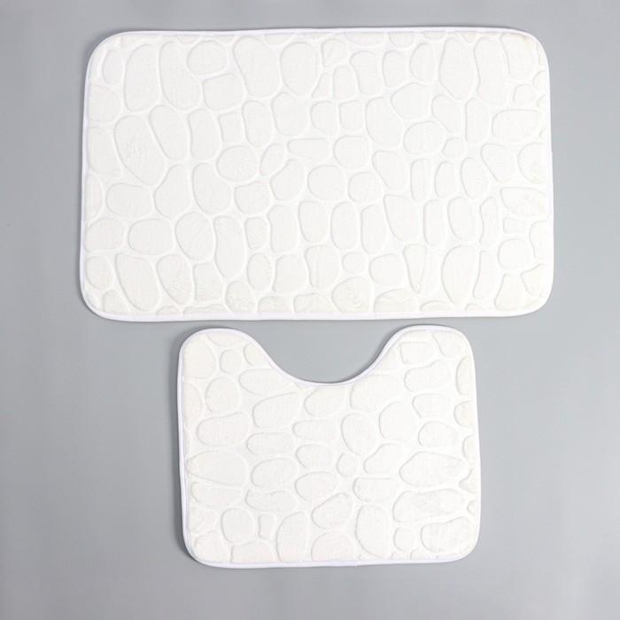 Набор ковриков для ванны и туалета Доляна «Галька», 2 шт: 39×50, 50×80 см, цвет белый - фото 7929947
