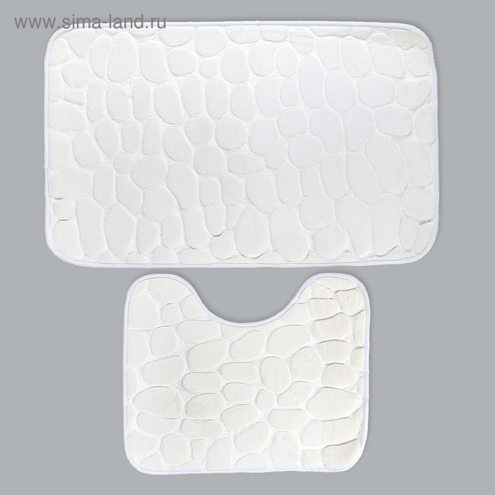 """Set of floor mats for bathroom and toilet """"Pebbles"""" 2 pieces, 50 × 80, 39х50 cm, color white"""