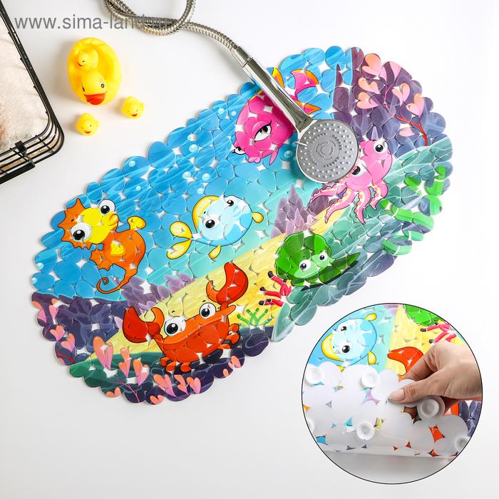 """Bathmat """"Bright fish"""" 36х68 cm, pebble"""