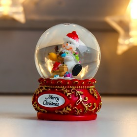 "Сувенир полистоун водяной шар ""Дед Мороз/Снеговик с оленем"" МИКС 6х4,5х4,5 см"