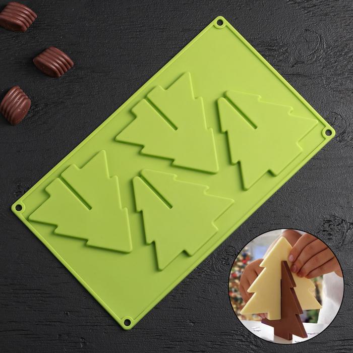 Форма для льда и шоколада 3D Доляна «Ёлка», 28×18,1×1 см, 4 ячейки, цвет МИКС