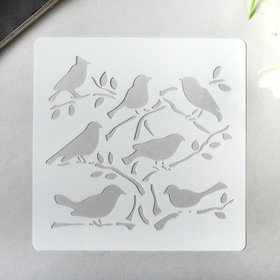 "Plastic stencil ""Birds on branches"" 13x13 cm"