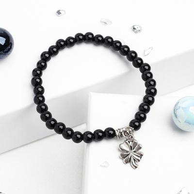 """Bracelet ball 4 """"black agate"""" pendant"""