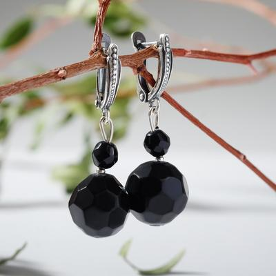 "Earrings ball No. 12 ""black agate"""