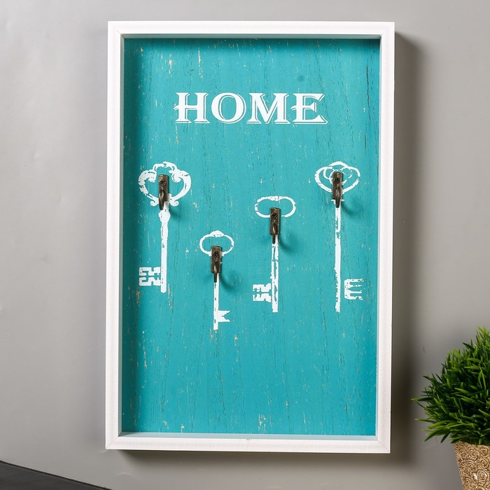 """Крючки декоративные дерево """"Ключики - home"""" 30х20х2,8 см - фото 308330002"""