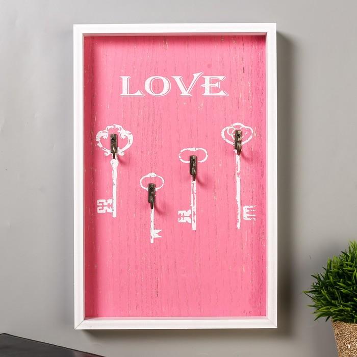 """Крючки декоративные дерево """"Ключики - love"""" 30х20х2,8 см - фото 308330006"""