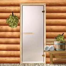 Дверь для бани и сауны стеклянная «Бронза», коробка 190 × 70 см, 6 мм, 2 петли