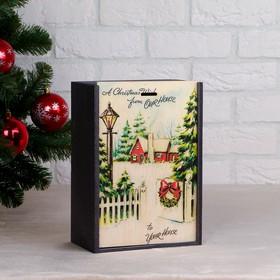 "Box gift ""Winter evening"", gray, 20×30×12 cm"
