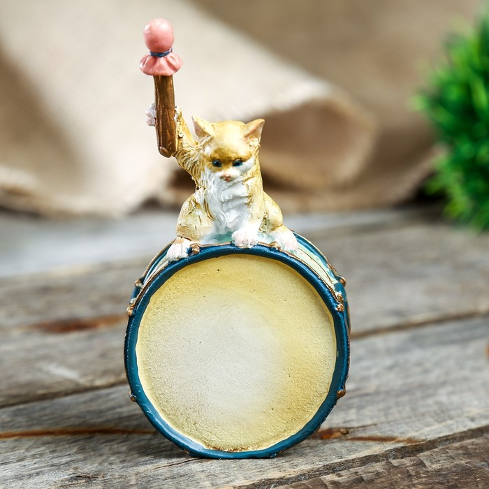 """Сувенир полистоун """"Котёнок ударник"""" 6х4.5х11CM - фото 551397559"""
