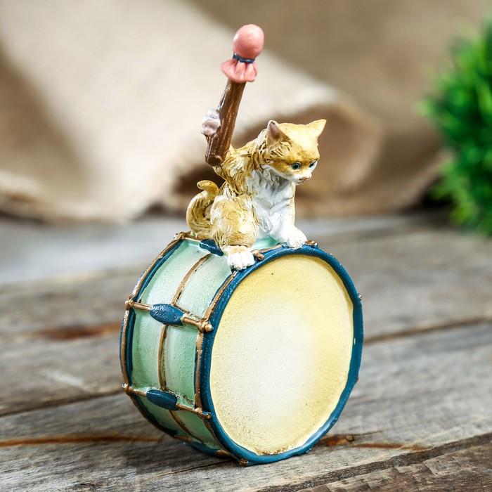 """Сувенир полистоун """"Котёнок ударник"""" 6х4.5х11CM - фото 551397560"""