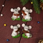 """Magnet Polyresin """"Gray mouse on the lawn"""" MIX 4,8x3,5x2 cm"""