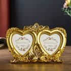 """Plastic photo frame for 2 photos 10x15cm """"Swans in the roses"""" gold 15,5х24 cm"""