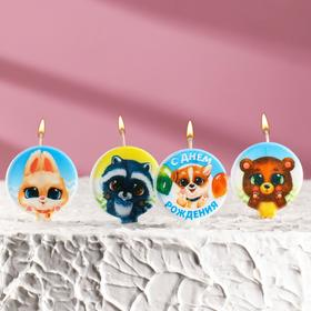 "Набор свечей в торт ""Зверята"", размер 1 свечи 4×4,4см, 5 шт"