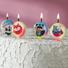 """Набор свечей в торт """"Зверюшки"""", размер 1 свечи 4×4,4см, 4 шт"""