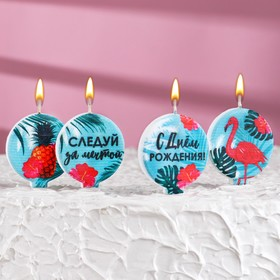 "A set of candles in the cake ""Flamingo"", size 1 candle 4×4.4 cm, 5 PCs"
