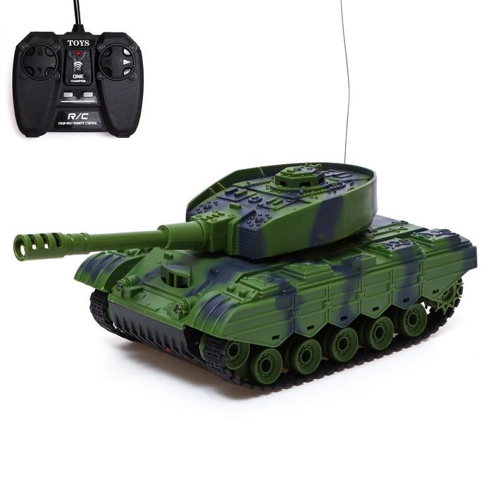 Танк радиоуправляемый «Т-64», работает от аккумулятора, световые и звуковые эффекты, цвет зелёный