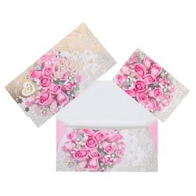 Конверт для денег 'С Днём Свадьбы!' фольга, розовые розы, кольца Ош