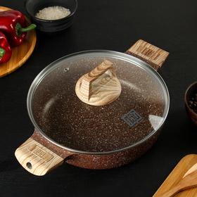 The cast casserole Cafe, 24 cm, glass lid, removable handle, induction