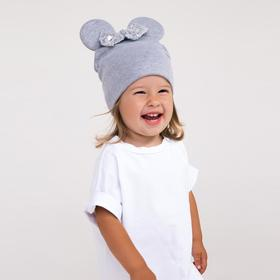 Двухслойная шапочка «Мышка», цвет серый/принт бантик, размер 46-50