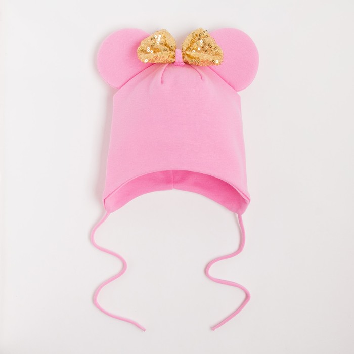 Шапка «Мышка» с бантиком, цвет розовый, рост 46-50 см - фото 105570612