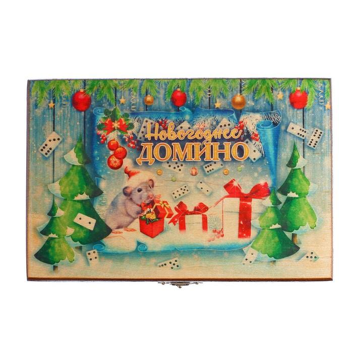 """Домино в шкатулке """"Новогоднее домино"""""""