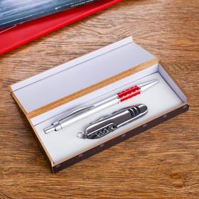 Набор подарочный 2в1: ручка, нож 5в1, цвета микс Ош