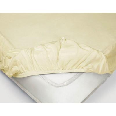 Простыня на резинке, размер 200 × 200 × 20 см, поплин, цвет ванильный