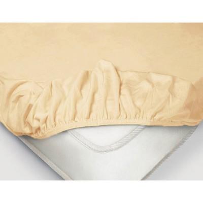 Простыня на резинке, размер 200×200 × 20 см, поплин, цвет бежевый
