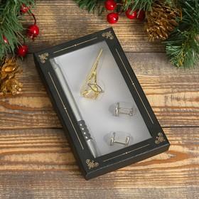 Набор подарочный 4в1 (ручка, заколка для галстука, 2 запонки) микс