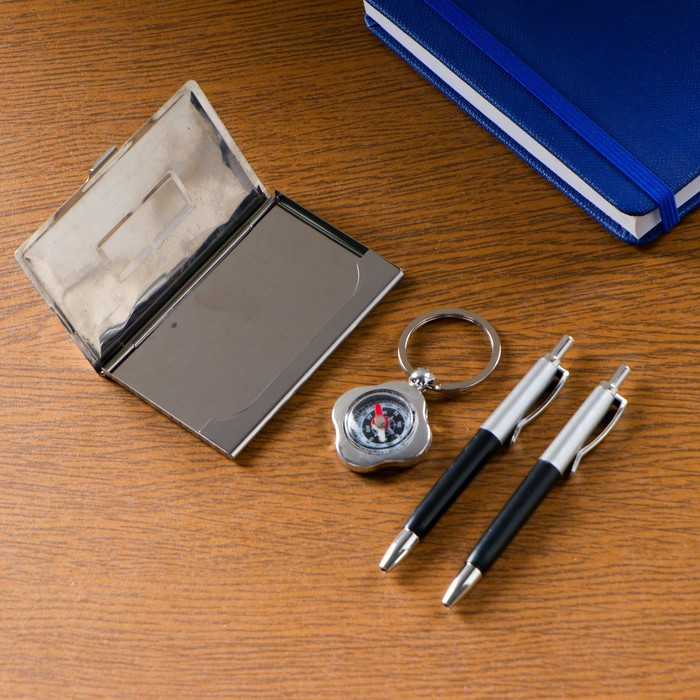 Набор подарочный 4в1: 2ручки, брелок - компас, визитница