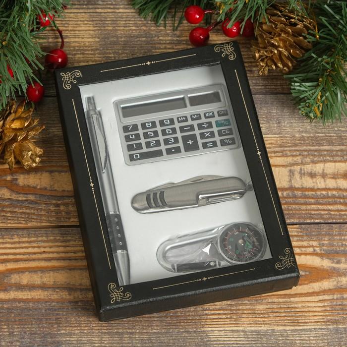 Набор подарочный 4в1 (ручка, калькулятор, карабин-компас, нож 3в1) - фото 8873514