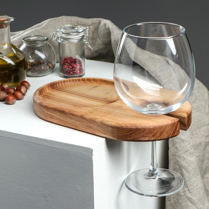 Блюдо для вина и закуски, 25 х 15 см, цельный массив ясеня