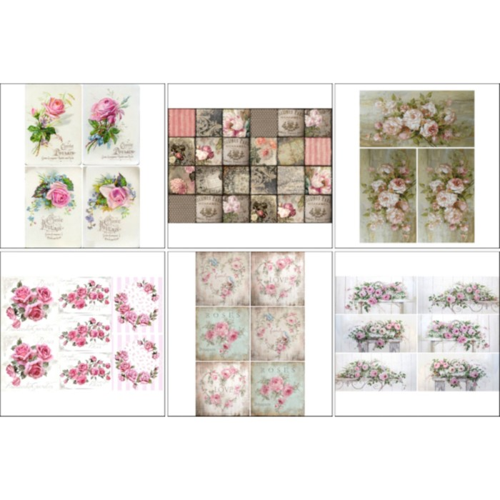Набор декупажных карт 6 шт «Винтажные розы 2»