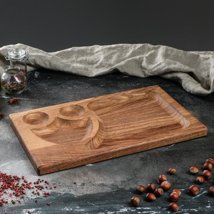 """Блюдо-доска для подачи и нарезки стейка """"Щит"""", 40 х 25 см, массив ясеня - фото 308110031"""