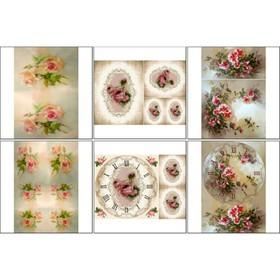 Набор декупажных карт 6 шт «Размытые розы»