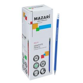 Карандаш ч/г MAZARI RIO R, НВ, с ластиком, шестигран, карт/уп, син/красн/черн M-6110 Ош