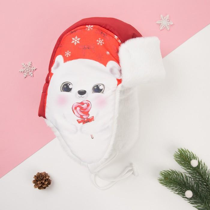 """Шапка зимняя KAFTAN """"Мишка"""" р-р 50 (3-4 года), красный - фото 76560860"""