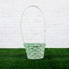 Basket, wicker, bamboo, 13х13х9,5/28cm, green